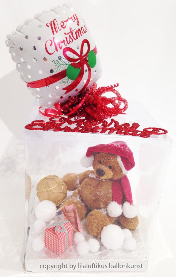 geschenkbox weihnachten mit weihnachtsteddy merry. Black Bedroom Furniture Sets. Home Design Ideas