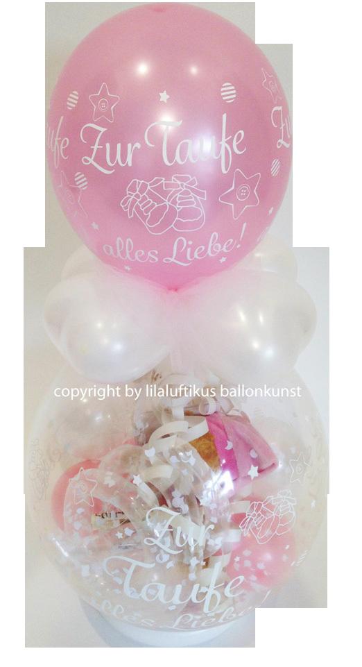 Geschenkballon Taufe Mädchen Farbe Rosa Geldgeschenk Stofftier