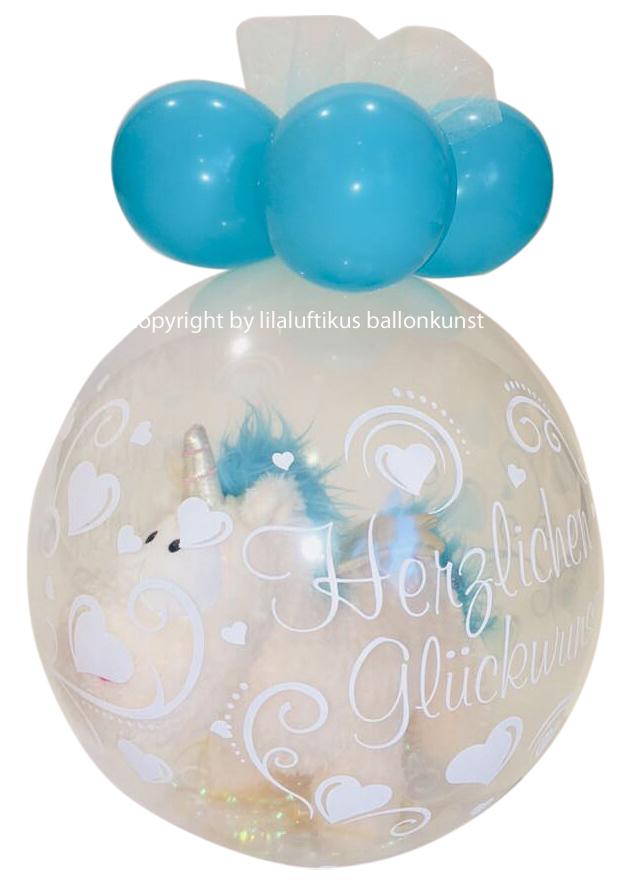 Einhorn Im Ballon Stofftier Mit Ballonverpackung Geschenk