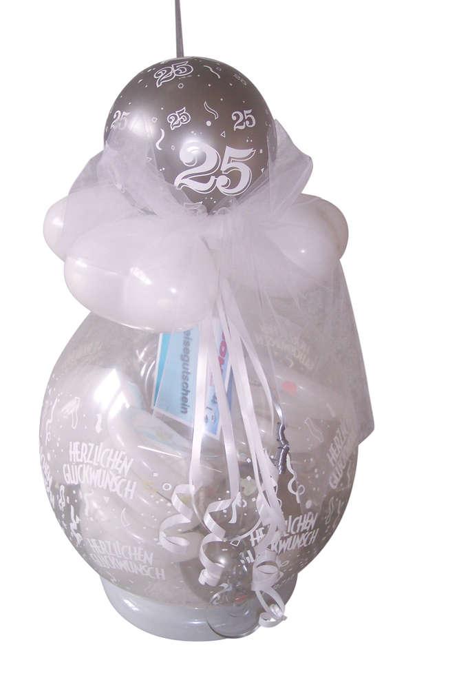 Verpackungsballon Silberne Hochzeit
