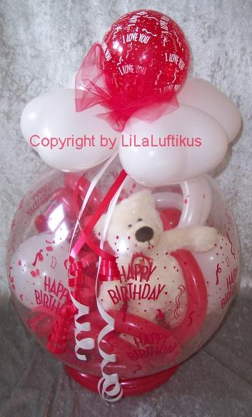 verpackungsballon zum geburtstag mit liebe geschenk im ballon. Black Bedroom Furniture Sets. Home Design Ideas