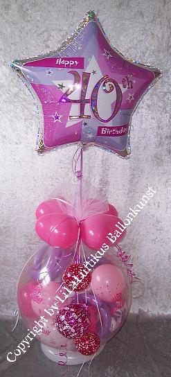geschenk im ballon geburtstag t rkis pink zahl geschenkverpackung. Black Bedroom Furniture Sets. Home Design Ideas