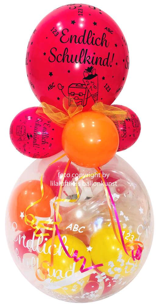 Geschenk Ballon Schulanfang Einschulung 1 Schultag Bunte Farben