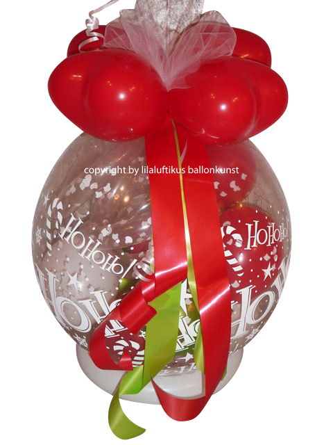 geschenk im ballon weihnachten hohoho mit schleifen. Black Bedroom Furniture Sets. Home Design Ideas