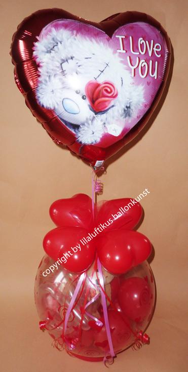 ballongeschenk valentinstag herzballon b rchen und karte. Black Bedroom Furniture Sets. Home Design Ideas