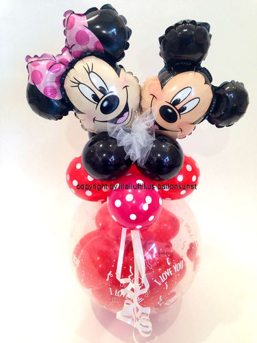 Minnie Mickey Mouse I love you Geschenkballon Valentinstag