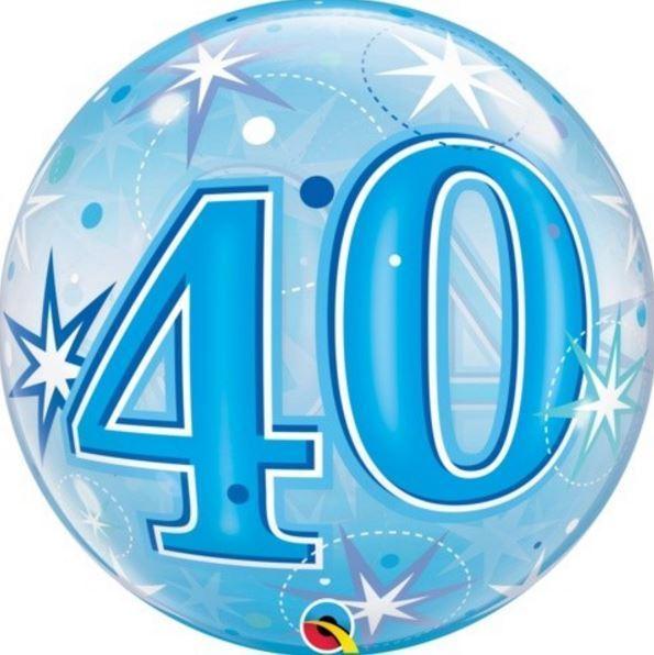Bubble Ballon Geburtstag Zahl Farbe blau inkl. Dekoration
