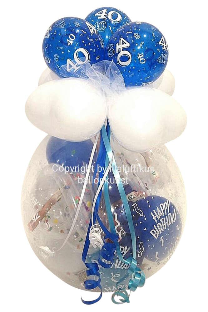Geschenk Im Ballon Runder Geburtstag Blau Geldgeschenk Gutschein