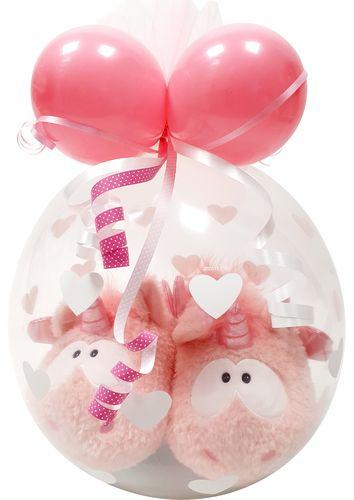 Qualatex Einhorn Hausschuhe NICI im Ballon Geschenk Weihnachten Geburtstag Luftballon Verpackung Gr/ö/ße 38-41 Einhorn Merry Heart