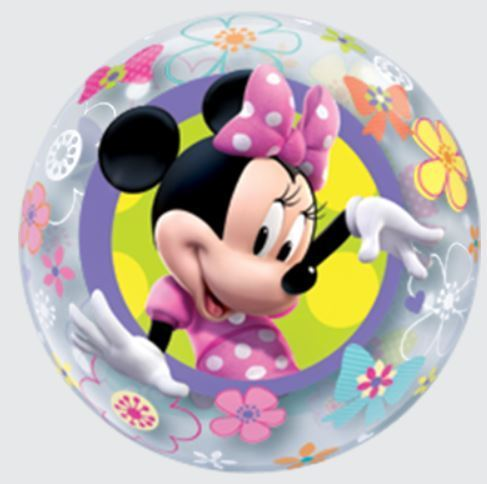 Luftballon Minnie Mouse Bubble Ballon, 56 cm, inkl. Helium mit Dekoration und Gewicht