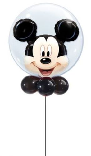 Luftballon Mickey Mouse Double Bubble Ballon, 56 cm, inkl. Helium mit Dekoration und Gewicht