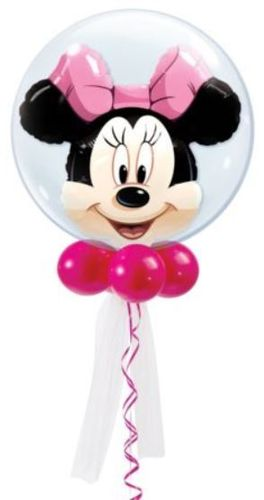 Luftballon Minnie Mouse Double Bubble Ballon, 56 cm, inkl. Helium mit Dekoration und Gewicht