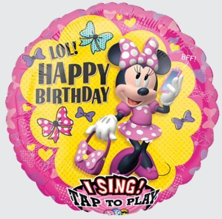 Singender Ballon Minnie Mouse Helium Kinder Geburtstag Happy Birthday