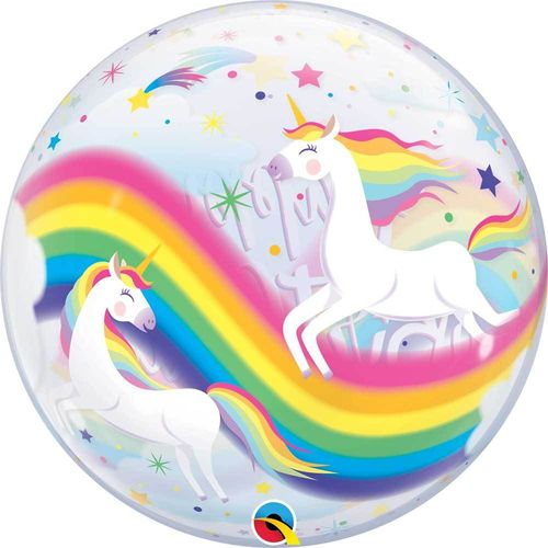 Bubble Luftballon Helium Geburtstag Happy Birthday Einhorn